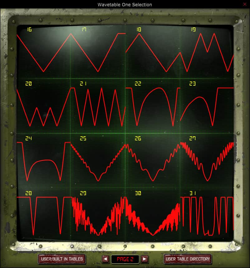 Wavetable selection window